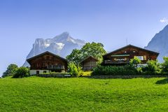 Alpine chalets - Grindelwald Stock Photography