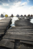 Chalets, cottages on the shore of a lake Royalty Free Stock Image