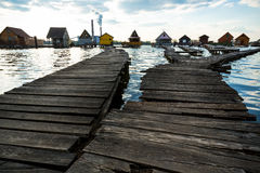 Chalets, cottages on the shore of a lake Stock Photography