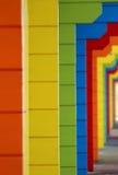 Chalets de madera coloridos de la playa Fotografía de archivo