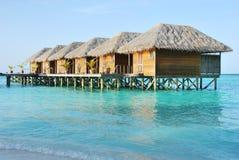 Chalets del agua en Maldives fotografía de archivo libre de regalías