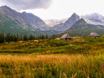 Chalets en bois dans haut Tatras Photo stock