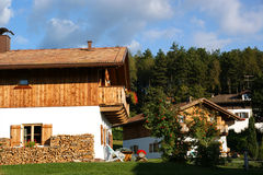 Chalets With Flowers and Wood Royalty Free Stock Photos