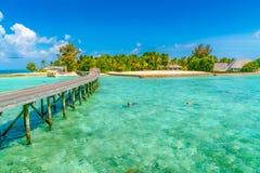 Chalets hermosos del agua con los pares que bucean en Maldi tropical Fotos de archivo