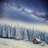 Chalets in the mountains at night under the stars Royalty Free Stock Photography