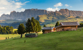 Chalets at Seiser Alm, South Tyrol, Italy Stock Photo