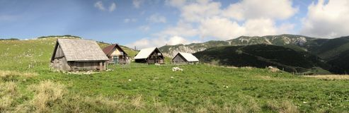 Chalets on the way from Heukuppe to Habsburk hut Royalty Free Stock Image
