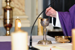 Chalice on the altar for worship stock photography