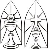 Chalice on the background of stained glass Royalty Free Stock Image