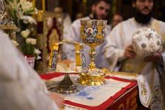 Chalice dla communion w Ortodoksalnym monasterze kiev Zdjęcia Royalty Free
