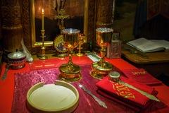 Chalice dla communion w Ortodoksalnym monasterze kiev Zdjęcie Stock