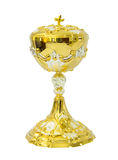 Chalice Eucharist on white background. Gold chalice Eucharist on white background royalty free stock image