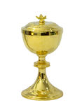 Chalice Eucharist on white background. Gold chalice Eucharist on white background stock images