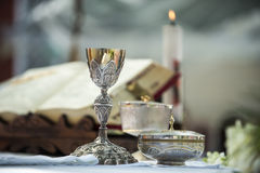 Chalice and ritual objects used for catholic mass Stock Image