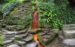 Chalice Well, Red Fountain. Red fountain, Chalice Well, Glastonbury, England stock photo