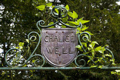 Chalice Well. Sign for the Chalice Well in Glastonbury royalty free stock photo