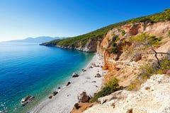 Chalikiada plaża w Agistri wyspie, Grecja Obraz Stock