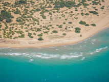 Chalikounas beach in Corfu view from the air Royalty Free Stock Photos
