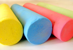 Chalk. Closeup of colored chalk shallow dof stock photos