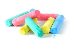 Chalk. Pile of mixed colored chalk stock photos