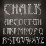 Chalk alphabet. Vector sketched chalky alphabet on blackboard Royalty Free Stock Photography