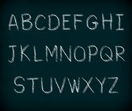 Chalk Alphabet writing. Chalk Alphabet writing on  blackboard Royalty Free Stock Photo