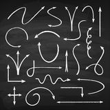 Chalk arrows set. Black board to write or draw with chalk, thin, long sharp point elements collection, in bow on smooth dark surface royalty free illustration