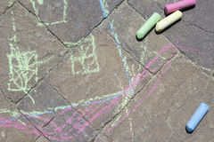 Chalk Art on Cement Pavers Stock Images
