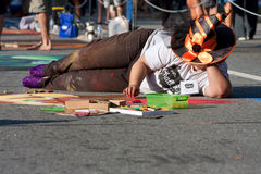 Chalk Artist Creates Halloween Scene On Street Royalty Free Stock Images