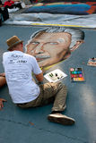 Chalk Artist Draws Vincent Price On Street For Halloween Stock Image