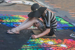 Chalk Artist Stock Photo