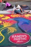 Chalk Artist Sketches Halloween Scene On Street Stock Photography