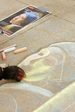 Chalk Artist Sketches Portrait Onto Sidewalk Stock Photos