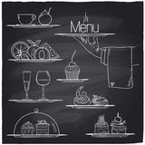 Chalk banquet food symbols. Chalk banquet food symbols on a chalkboard. Eps10 Stock Images