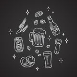 Chalk beer doodles Stock Image