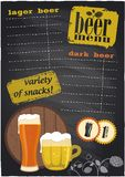 Chalk beer menu. Royalty Free Stock Photos