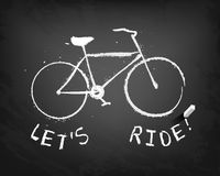 Chalk bicycle with text: let's ride! Stock Images