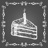 Chalk birthday cake and vintage frame. Stock Photography