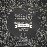 Chalk Birthday invitation blackboard template. Stock Photos