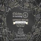 Chalk Birthday invitation blackboard template. Stock Photos