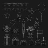 Chalk birthday party icons set. Collection of chalk birthday party icons in doodle style on black background royalty free illustration