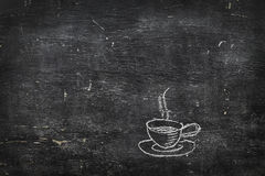 Chalk on black board: cup of tea of coffee Royalty Free Stock Photography