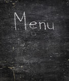 Chalk on black board: Menu Royalty Free Stock Photography