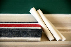 Chalk and blackboard eraser Royalty Free Stock Photos