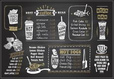 Chalk on a blackboard menu designs set - desserts menu, fish menu, tea, coffee, hot dogs, beer bar. Chalk on a blackboard menu designs set for cafe or restaurant vector illustration