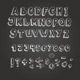 Chalk on blackboard style alphabet. White letters stock illustration