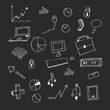 Chalk on blackboard. Vector illustration. Set. Business icons and badges. EPS. Icons, pictures on the theme of business for website design, podcast, social vector illustration
