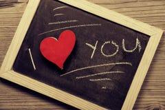 Chalk blackboard written, I love you Stock Image