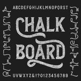 Chalk board alphabet font with alternates. Retro letters, numbers and symbols. Vintage vector typeface for your design Royalty Free Illustration