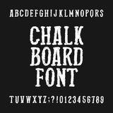 Chalk board alphabet font. Distressed hand drawn letters and numbers on a dark background. Vector typeface for your design Royalty Free Illustration